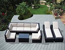 Big Sale Combo Saving: Genuine Ohana Outdoor Sectional Sofa and Chaise Lounge Set (9 Pc Set) with Free Patio Cover