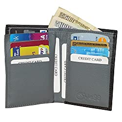 Black Unisex Leather Card Holder Wallets with 12 Credit Card Slots