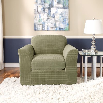Sure Fit Stretch Squares 2-Piece Chair Slipcover, Fern