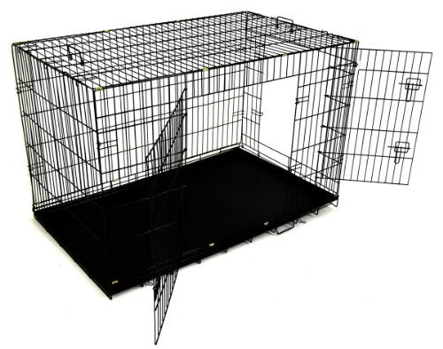 """Champion 48"""" 2 Door Folding Metal Wire Dog Cage Crate Kennel With Abs Tray front-11111"""
