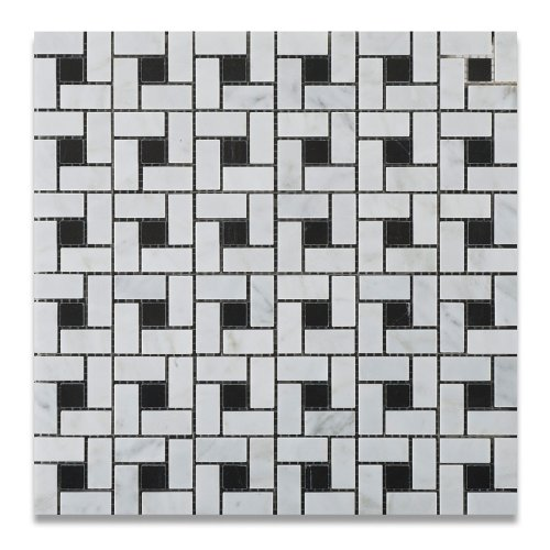 Bianco Carrara White Marble Polished Pinwheel Mosaic Tile with Black Dots - Lot of 50 sq. ft.