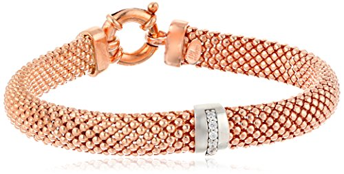 Italian Sterling Silver Two-Tone Rhodium And Rose Gold Plated Cubic Zirconia Popcorn Bracelet , 7""
