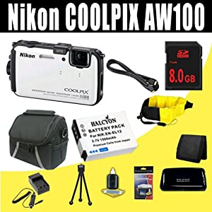 Nikon COOLPIX AW100 16 MP CMOS Waterproof Digital Camera with GPS and Full HD 1080p Video (White) 1500 mAh EN-EL12 Replacement Lithium Ion Battery + External Rapid Charger + 8GB SDHC Class 10 Memory Card + Mini HDMI Cable + Carrying Case + Waterproof Floating Strap + SDHC Card USB Reader + Memory Card Wallet + Deluxe Starter Kit Bundle DavisMAX Accessory Kit