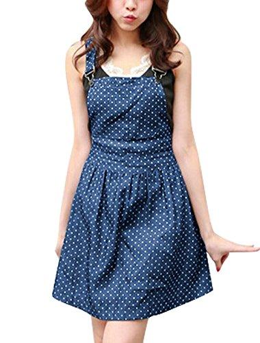 Women Dots Pattern Adjustable Shoulder Straps Denim Overall Dress (M (US 10