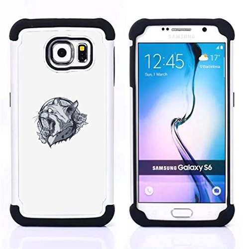 - Lynx Cat Panther Crest/ 3in1 di lusso stampato duro molle High Impact caso ibrido armatura Defender - SHIMIN CAO - For Samsung Galaxy S6 G9200