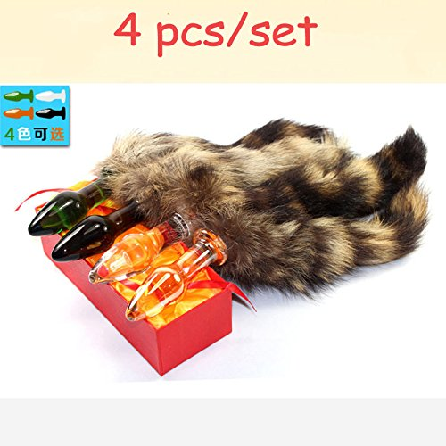 4pcs glass anal plug set fairy tail sex toys for woman fox tail butt plug anus stimulator buttplug adult products