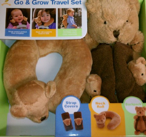 Goldbug Go and Grow Travel set including strap covers, neck roll, and bear backpack - 1
