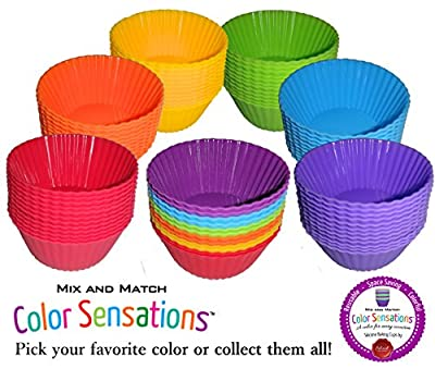 Silcook Silicone Baking Cups / Muffin Molds / Cupcake Liners - 12 Cup Set to Use with or Replace Muffin Pan / Tin
