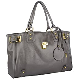 MG Collection Lucca Designer Inspired Glamour Shopper Tote Handbag, Grey, One Size
