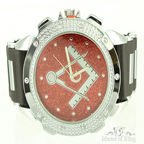 Mens Jojino Designer Custom Red Face Thick Rubber Bullet Style Band Mason Watch