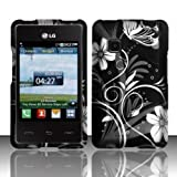 3-in-1 Bundle For LG 840g - Hard Case Snap-on Cover (Black/Silver Flower)+ICE-CLEAR(TM) Screen Protector Shield... by ICE-CLEAR(TM) LG 840g