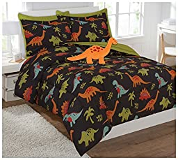 Fancy Collection 6 Pc Kids/teens Dinasour Black Orange Green Blue Luxury Comforter Furry Buddy Included