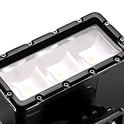 Neewer® 3 LED Flash Dimmable Diving Light 30m Waterproof Work with AHDBT-401 Battery for Gopro Hero4 Session, 4, 3+, 3, 2, 1, Xiaomi Yi SJ4000/5000/6000/7000(Battery Not Included)