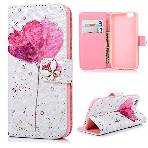iPhone 6 6s Custodia in Pelle Morbida PU Case Cover Cristallo Strass DIY - Mavis's Diary Custodia con il caso della copertura di vibrazione, chiusura magnetica, Funzione di sostegno Stand, con la copertura del raccoglitore per la Carte - Progettazione Farfalla e Fiore Rosa