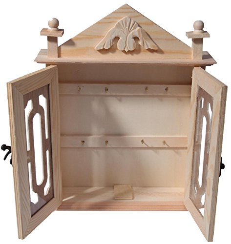 Wooden Key Box Organizer Brown Wood Key Rack Cabinet