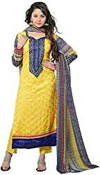 K.K BROTHERS Women's Georgette Dress Material (Yellow)