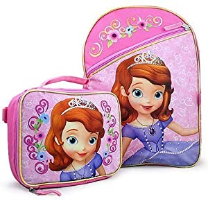 """Disney Princess Sofia the First 16"""" Backpack with Lunch Box Bag Set"""