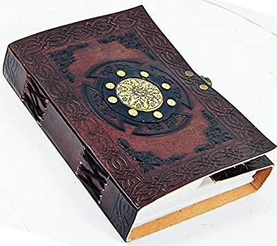 "Handmade Tri-fold Leather 5"" X 7"" Journal with Brass Medallion in Gift Box Set"