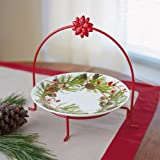 Festive Wreath Plate with Decorative Stand