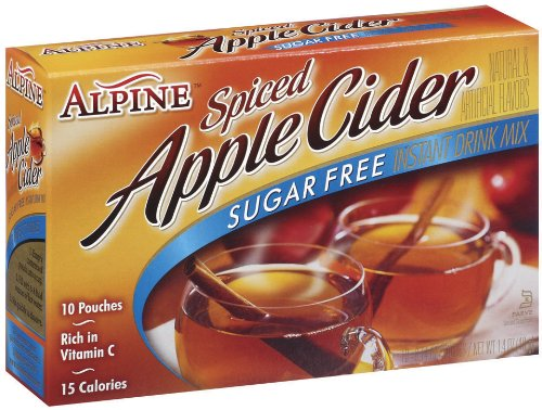 Alpine Spiced Cider, Sugar-Free Apple Flavor Drink Mix, .14 oz pouch, 10 count boxes (Pack of 12)