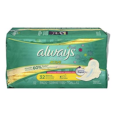 Always Ultra Thin Pads Regular Fresh Active with Flexi-Wings Scented, 32 Count