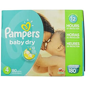 Pampers Baby Dry Diapers Economy Pack Plus (Size 4, Pack of 180)
