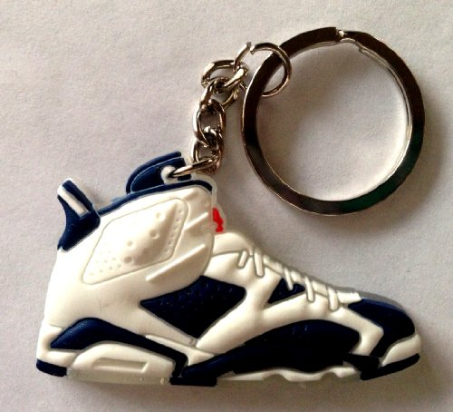Air Jordan 6/VI Olympic Navy Blue/White Chicago Bulls Sneakers Shoes Keychain Keyring AJ 23 Retro