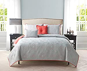 5 Pc, Reversible, Grey, Coral, Quilt Set, King Size Coverlet, By Karalai Bedding Collection
