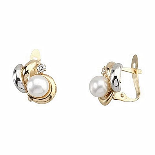 18k gold earrings bicolor Cultured Pearl 5mm. zirconia [6664P]