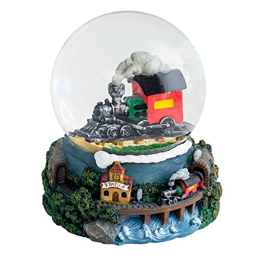 Black Steam Engine 100MM Water Globe Plays Tune Ive Been Working on the Railroad