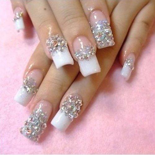 Rhinestone stiletto nails