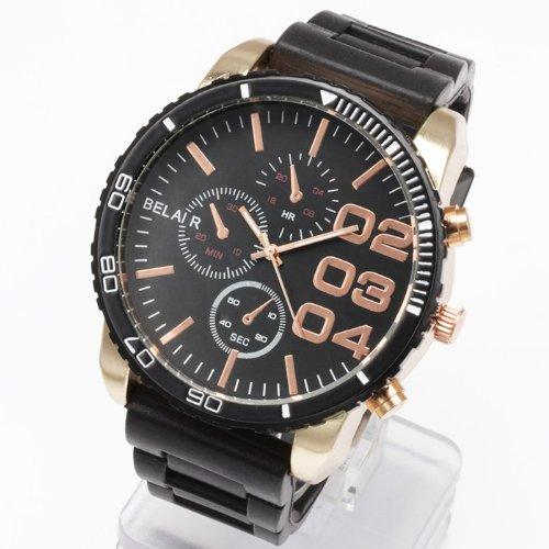 AC-W-JH33 52mmビッグフェイス腕時計 メンズ腕時計 Bel Air collection[ベルエアコレクション] [並行輸入品] ブラック