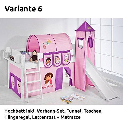 Hochbett Spielbett IDA Dora the Explorer, mit Turm, Rutsche und Vorhang, weiß, Variante 6 online bestellen