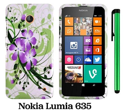 Nokia Lumia 635 (Us Carrier: T-Mobile, Metropcs, And At&T) Premium Pretty Design Protector Cover Case + 1 Of New Assorted Color Metal Stylus Touch Screen Pen (Splash-Ink Painting Purple Green Flower On White)