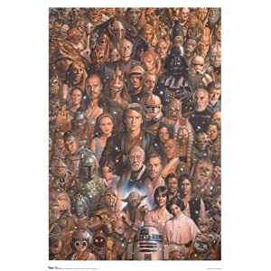 Star Wars ~ Star Wars Poster ~ Rare Art Collage of Characters!!!~ 24 x 36