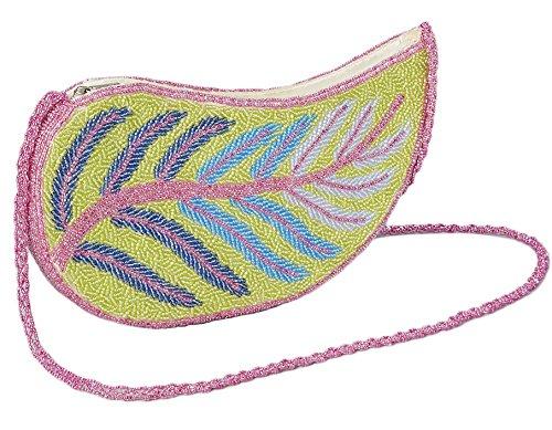 Shoulder Bag (Pink&Green Beaded Leaf)