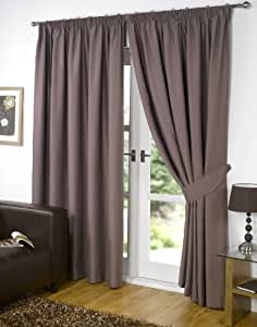 """Pair of MINK 66"""" Width x 54"""" Drop , Supersoft Thermal BLACKOUT Curtains INCLUDING PAIR OF MATCHING TIE BACKS, 'Winter Warm but Summer Cool' by VICEROY BEDDING"""