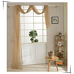 New 82*550cm Romantic Pure Color Voile Drapery Door Window Curtain for Living Room Wedding Banquet Decoration Brown