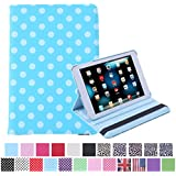 HDE 360° Rotating Leather Folding Folio Case Stand Cover for iPad Mini 1/2/3 and Retina Tablet (Blue Polka Dot)