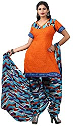 Trendz Apparels Orange Cotton Patiala Salwar Suit