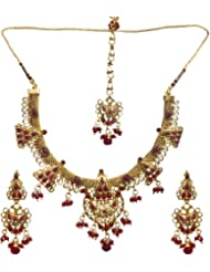 Exotic India Faux Ruby Necklace With Earrings Set And Mang Tika - Copper Alloy With Cut Glass