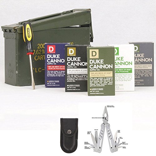 Duke Cannon Ammo Can Gift Set - Limited Edition U.S. Military Field Box Gift Pack and 12 Function Multi-Tool (Ammo Cans Military compare prices)