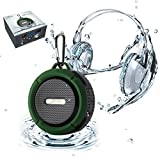 Elivebuy® Waterproof Rugged Wireless Bluetooth 3.0 Outdoor / Shower 5W Driver Speaker, Handsfree Portable Speakerphone with Built-in Mic, Control Buttons and Dedicated Removable Suction Cup for Showers, Bathroom, Pool, Boat, Car, Beach, & Outdoor Use Compatible with Apple Iphone 6,6 Plus, 5s, 5, Galaxy S5, S4 S3, HTC One, Galaxy Note 3 2, Mp3 Player - Army Green