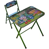HOMIES INTERNATIOANL Brings Dora Character Folding Study Table And Chair, Material: Wood And Steel. Color: Green. Dimension: (88 X 62.2 X 6.5 Cm)