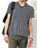 (リピード) REPIDO Tシャツ カットソー メンズ 半袖 Vネック ボーダー ボーダーTシャツ 半袖Tシャツ 無地 白黒 ネイビー×ホワイト(太) M