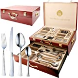 95PC STAINLESS STEEL CUTLERY CANTEEN SET VINTAGE GOLD DINING TABLE + WOODEN CASE