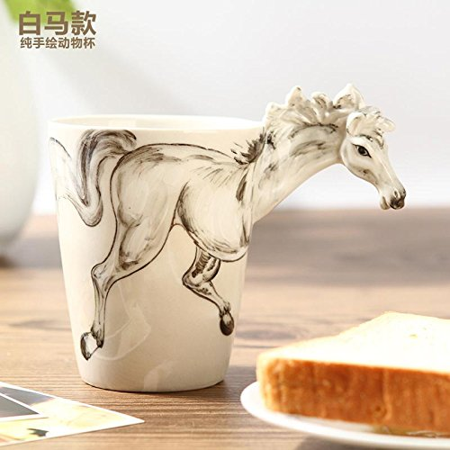 ZIMEI Cavallo bianco 3D fatto a mano in ceramica tazze, tazzine, ad alta temperatura, forno a microonde 420ml , 2 set - Starbucks Tazze E Tazzine