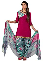 Pink Colour Cotton Printed Unstitched Dress Material