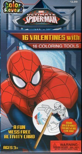 Marvel Ultimate Spiderman Classroom Exchange Cards 16 Valentines with 16 Coloring Tools
