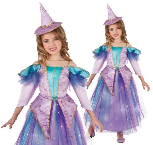 [Lavender Light Up Glitter Witch Costume, Medium] (Girls Light Up Witch Costume)